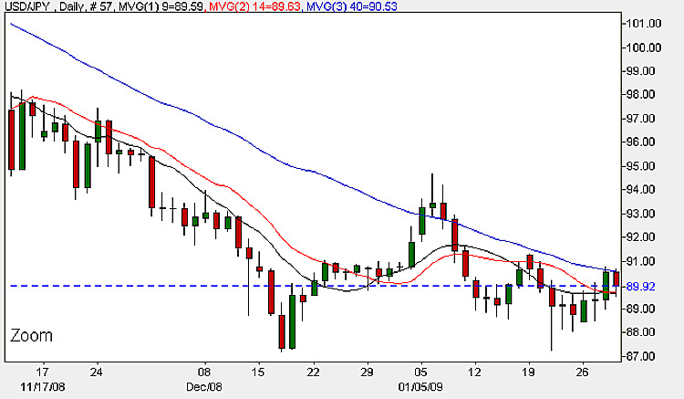 Yen To Dollar Daily Candle Chart - January 30th 2009