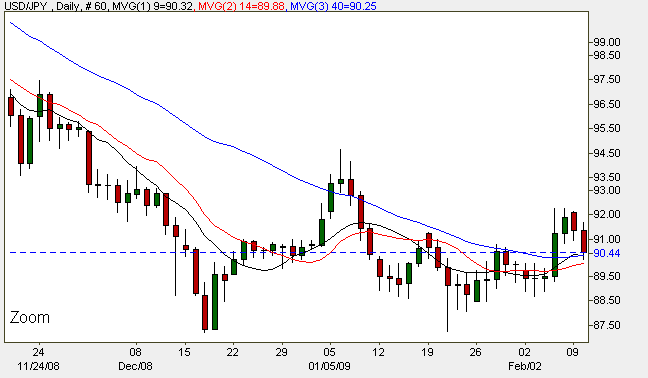 Yen to Dollar - Daily Candle Chart 11th February 2009