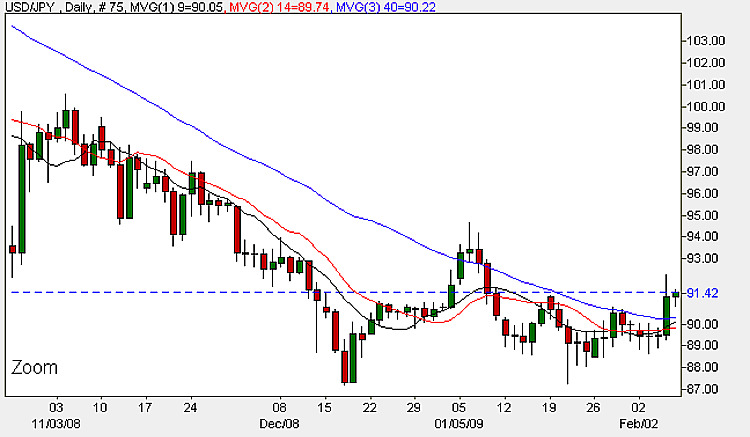 Yen To Dollar - Daily Candle Chart 6th February 2009
