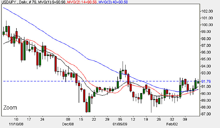 Yen To Dollar - Daily Candle Chart 16th February 2009