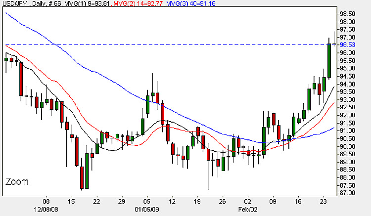 Yen To Dollar Daily Candle Chart - 25th February 2009