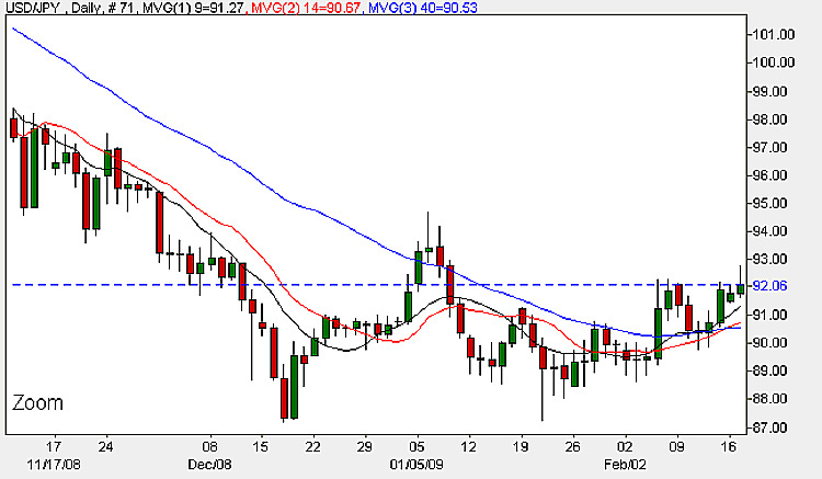 Yen To Dollar - Daily Candle Chart 17th February 2009